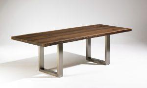 Esstisch mit Baumkante Nussbaum massiv Zinneinlage Edelstahl-Kufen Maßanfertigung