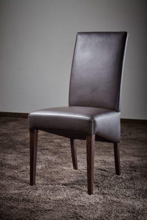 Esszimmerstuhl mit hoher Rückenlehne hochwertiges Anilin-Leder Buchengestell Stahlfederkern Nosag-Federung made in Germany