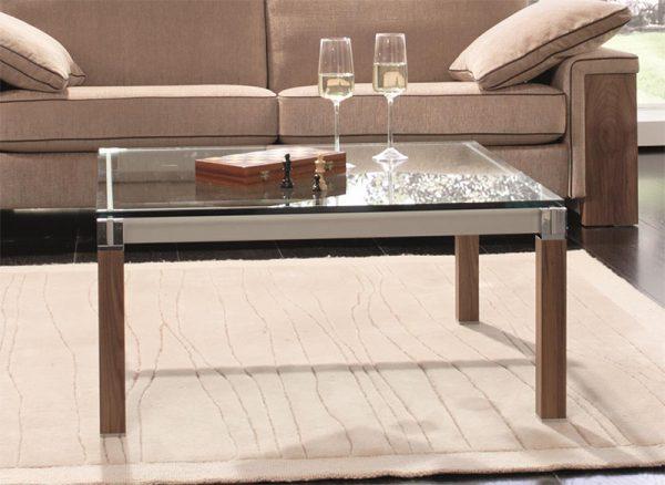 Couchtisch Metall Holz Glas Design Kirsche Maßanfertigung quadratisch hochwertig deutsche Fertigung
