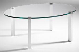 Couchtisch oval Glas Metall 4beinig Aluminium