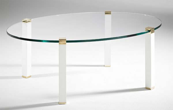 Couchtisch oval weiß Messing Glas oval edel QUADRO