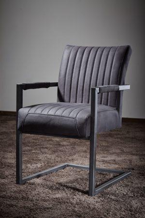 Freischwingerstuhl mit Armlehnen Repe Schwingstuhl hochwertig extra dicke Polsterung hoher Sitzkomfort Wildlederoptik anthrazit Metallgestell vintage-schwarz