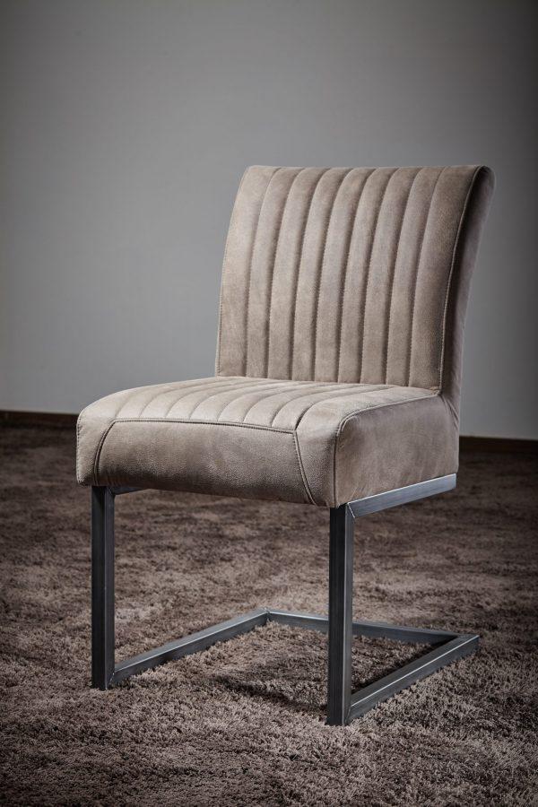 Hochwertiger Freischwingerstuhl Repe extra dicke Polsterung für hohen Sitzkomfort Wildlederoptik schlamm Metallgestell vintage-schwarz